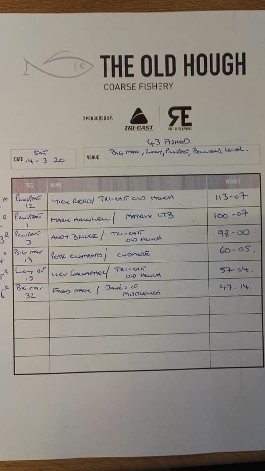 Weigh sheet 14.03.20